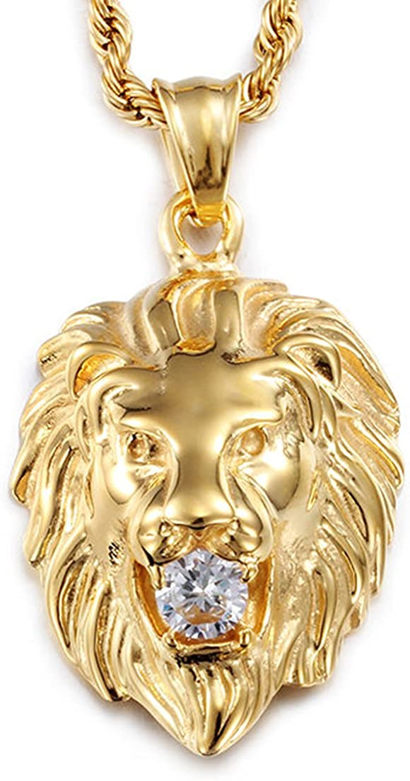 Jewelry Kingdom 1 Stainless Steel Vintage Men S Gold Lion Pendant