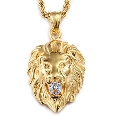 Amazon stainless steel vintage mens gold lion pendant stainless steel vintage mens gold lion pendant necklace white stone rope chain aloadofball Choice Image