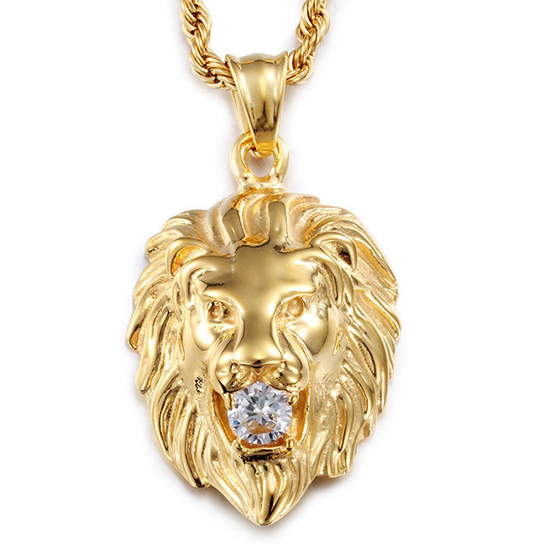 Stainless Steel Vintage Men's Gold Lion Pendant Necklace White Stone Rope Chain