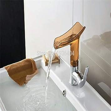 Grifo Cocina Lavabo Baño Bañera Jardin Chrome Cuenca Cuencos Grifos Cascada Para Baño Transparente Caño De Agua Sola Manija Del Fregadero Grifo Mezclador Ctzl6345: Amazon.es: Bricolaje y herramientas