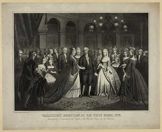 GEORGE /& MARTHA WASHINGTON /& FAMILY US HISTORY PAINTING ART REAL CANVAS PRINT