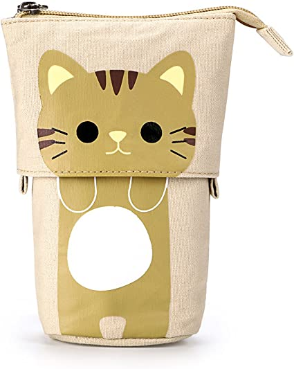 BTSKY Soporte telescópico para lápices de lona variable, lona de dibujos animados, gato, estuche de papelería, estuche, bolsa de almacenamiento para cosméticos, color Coffee+Yellow: Amazon.es: Oficina y papelería