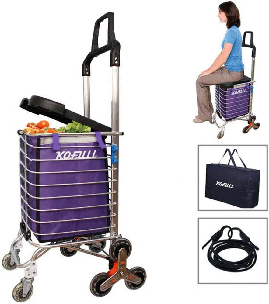 KOFULL Grocery Laundry Utility Foldable Shopping Cart, Aluminum Alloy 3-Wheel Stair Climbing with Cover (Can sit) Body Weight 220 Ib Free Hook Luggage Rope Storage Bag-177 Ib Capacity(Purple)