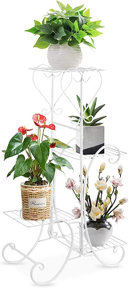 White Ceramic Plant Flower Pots with Metal Planter Holder Display Stand Indoor