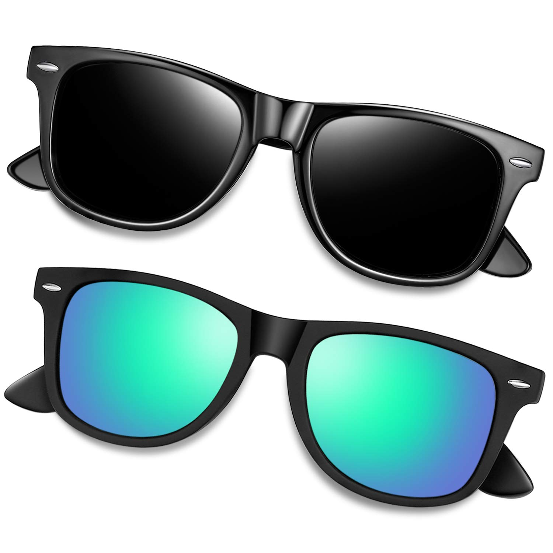 Joopin Polarized Designer Sunglasses for Men Women, 2 Pack Unisex Classic 80s Retro Sunglasses (Black+Green) by Joopin