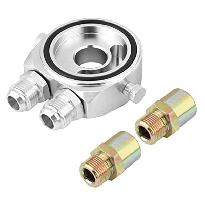 Acouto M20 x 1.5 Oil Filter Cooler Sandwich Plate Adapter, Aluminum Alloy 1/8 NPT Oil Cooler Kit(silver): Automotive