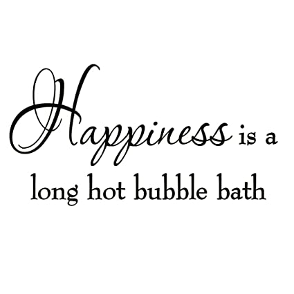 happiness is a long hot bubble bath wall decal bathroom quotes shower stickers sayings tub lettering - Bathroom Quotes