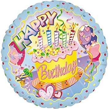 Image Unavailable Not Available For Color Happy Birthday Cake Candles Streamers 18 Mylar Balloon