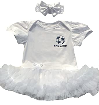 3eaec3abceb Little Secrets Childrens Clothing Baby Girl s England Football Personalised  Name Number White Tutu Romper with Bow