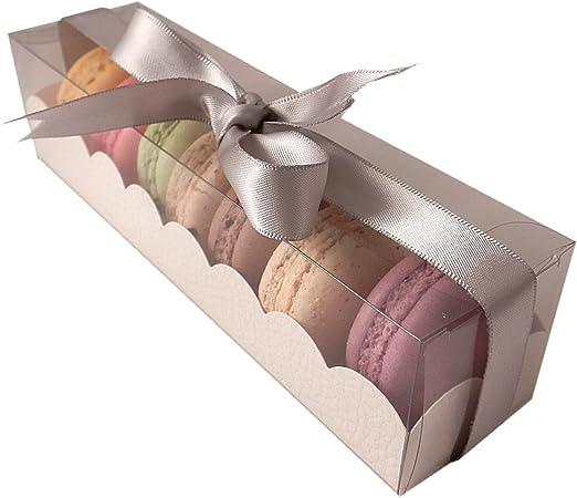 Cajas de macarrones franceses con manga - 7 puede Macarons: 10 unidades de sujeción: Amazon.es: Hogar