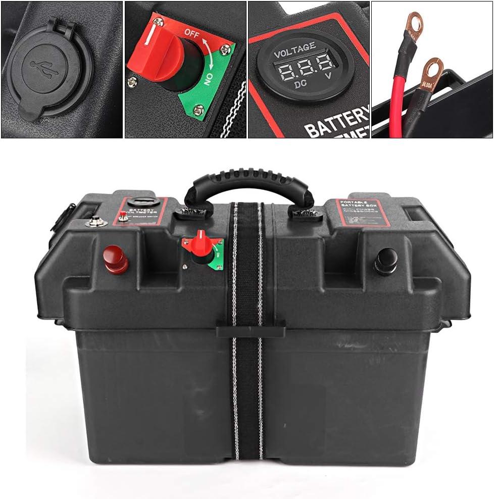 Duokon Motor Power Minnkota Trolling Battery Box Pl/ástico Minnkota Trolling Motor Power Center Station Battery Box USB y cargador de 12V Puerto