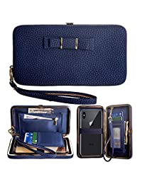 Phone Clutch Wallet, TraderPlus Long Style Leather Clutch Handbag Bow-Knot Purse Cellphone Case for iPhone X/ 8/ 8 Plus/ 7/ 7 Plus/ Galaxy S8/ S7/ S7 edge (Blue)