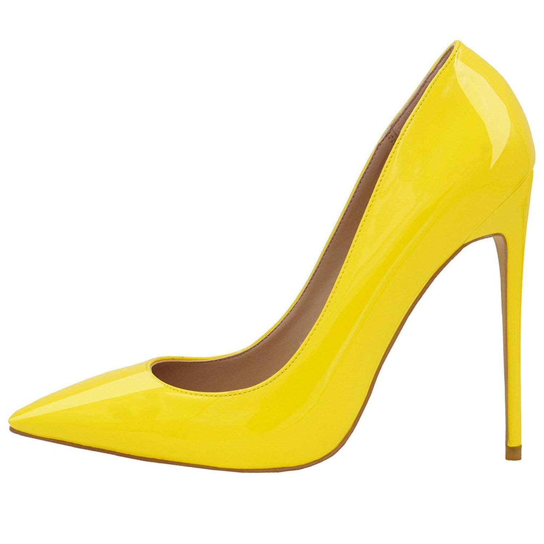 Jushee Damen Sexy Klassische Schwarz Stiletto High Heels Kleid Buuml;ro Pumps38 EU|Gelb