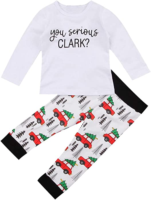 0249c5ddb Toddler Boy Kids Christmas Vacation Outfit You Serious Clark Romper  Christmas Truck Pants Coming Home Outfit