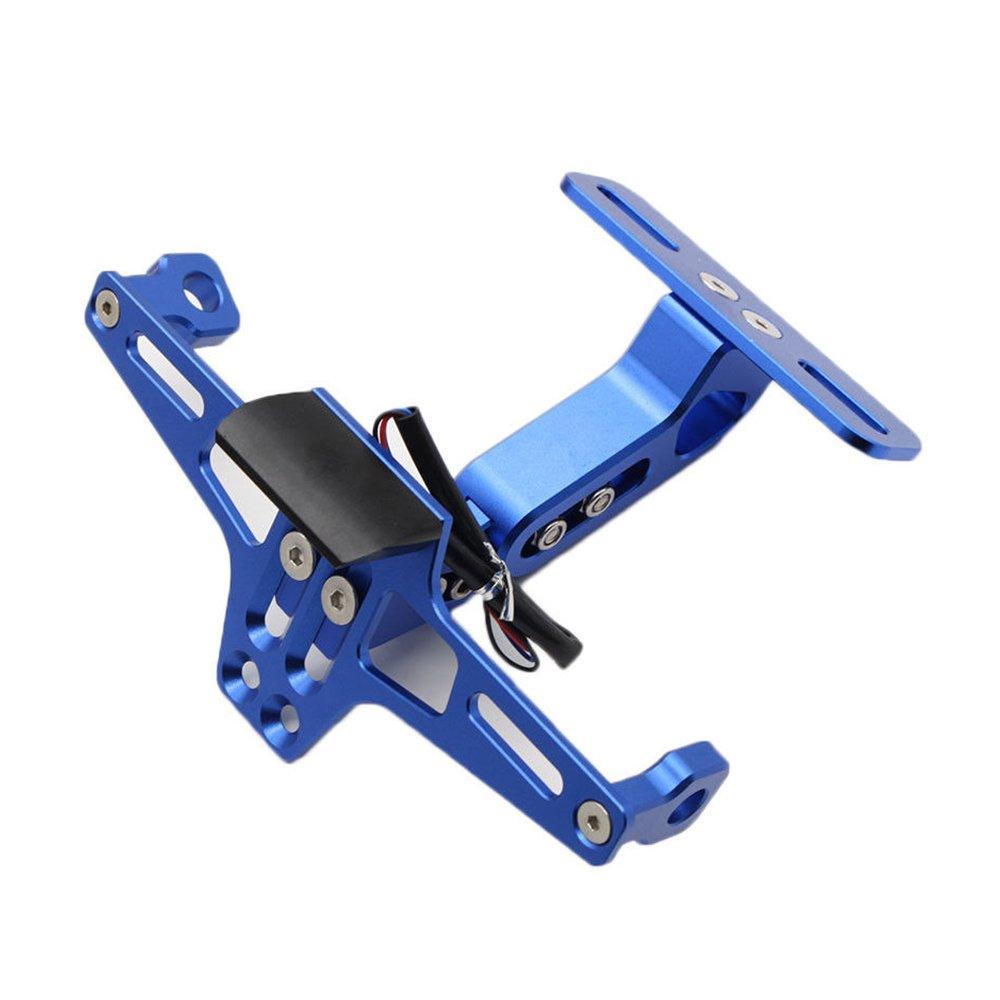 Triclicks Supports de plaque dimmatriculation Moto R/églable Bleu Aluminium CNC pour Honda Yamaha Suzuki Kawasaki Ducati