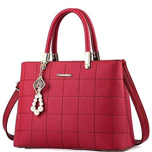 Vincico Womens Wine Red Plaid PU Leather Satchel Handbags Purse Crossbody Shoulder Bags (Handbag Polka Hobo Dot)