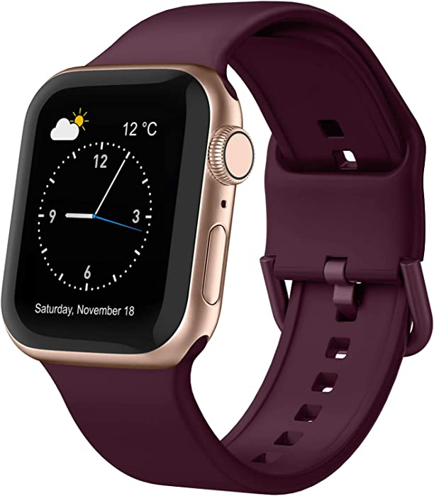 Adepoy Compatible with Apple Watch Bands 44mm 42mm 40mm 38mm, Soft Silicone Sport Wristbands Replacement Strap with Classic Clasp for iWatch Series SE 6 5 4 3 2 1 for Women Men, Wine 38/40mm