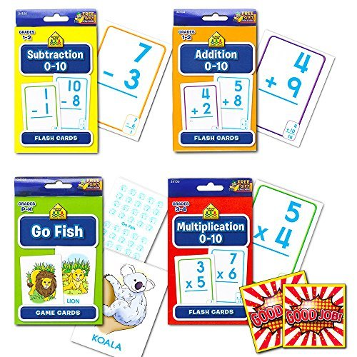 School Zone Flash Cards Math Set Kids -- 4 Packs (Addition, Subtraction, Multiplication, Go Fish, (Set Subtraction)