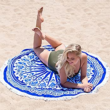 BuirStory Colore Microfiber Round Beach Towel for Swimming, Bathing, Yoga, Picnic, Hanging Tapestry - 5 feet (60 inches) (Blue Spark)