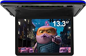 13.3 inch Car Overhead Monitor FHD Digital TFT Screen 1080P Video Car Overhead Player Roof Mounted Monitor HDMI Port White New Version