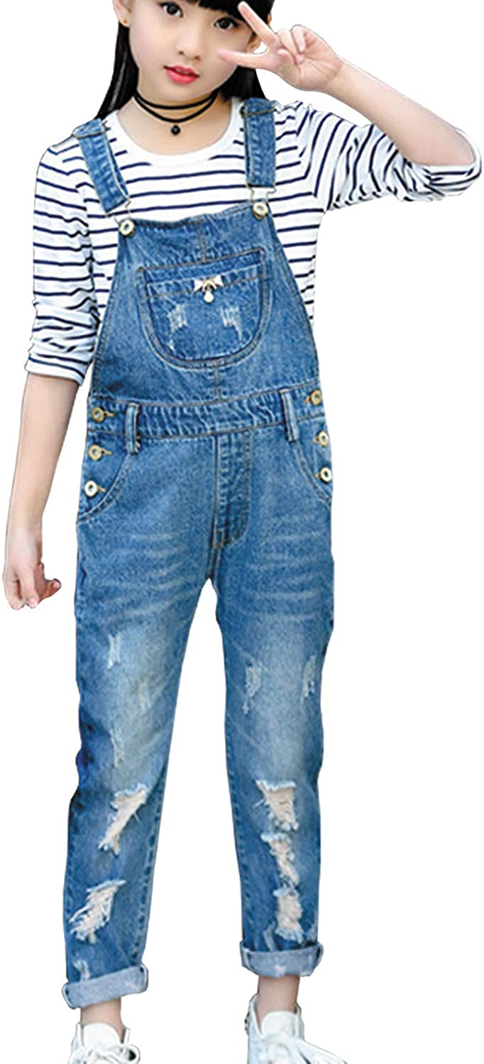 Amazon Com Laviqk 3 14 Years Kids Big Girls Jumpsuits Rompers Distressed Bib Denim Overalls Blue Long Jeans Stretchy Ripped Jeans Clothing