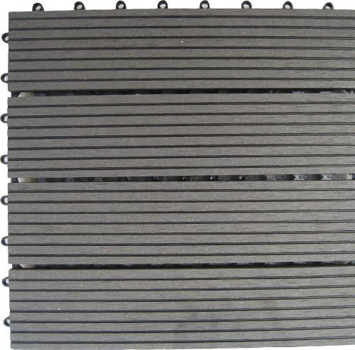 4 Slat Deck Tiles - Naturesort N4-OTM4G 4-Slat Bamboo Composite Deck Tiles, Grey by Naturesort