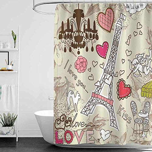 Boston Glass Chandelier - SKDSArts Shower Curtains Coral Paris Decor,Doodles Illustration of Eiffel Tower Hearts Chandelier Flower Love Valentines Vintage,Beige Pink,W65 x L72,Shower Curtain for Women