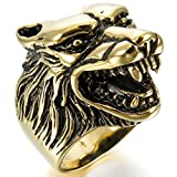 MoAndy Jewelry Mens Stainless Steel Rings Band Gold Black Wolf Head Gothic Biker Size 10
