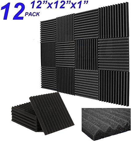 24 Pack 1 x 12 x 12 Black//Grey Acoustic Wedge Studio Foam Sound Absorption Wall Panels