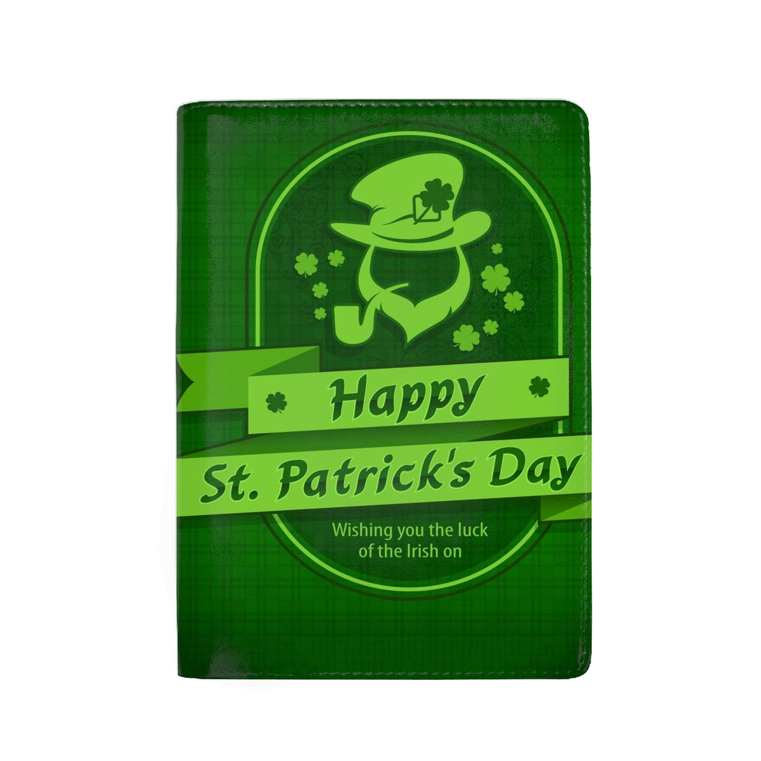 Irish Leprechaun With Pot Of Gold Passport Holder Cover Wallet RFID Blocking Leather Card Case Travel Document Organizer