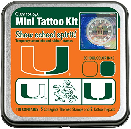 Clearsnap Mini Tattoo Kit, University of Miami, Temporary Tattoo Ink and Stamp Set (Face Paint School Spirit)