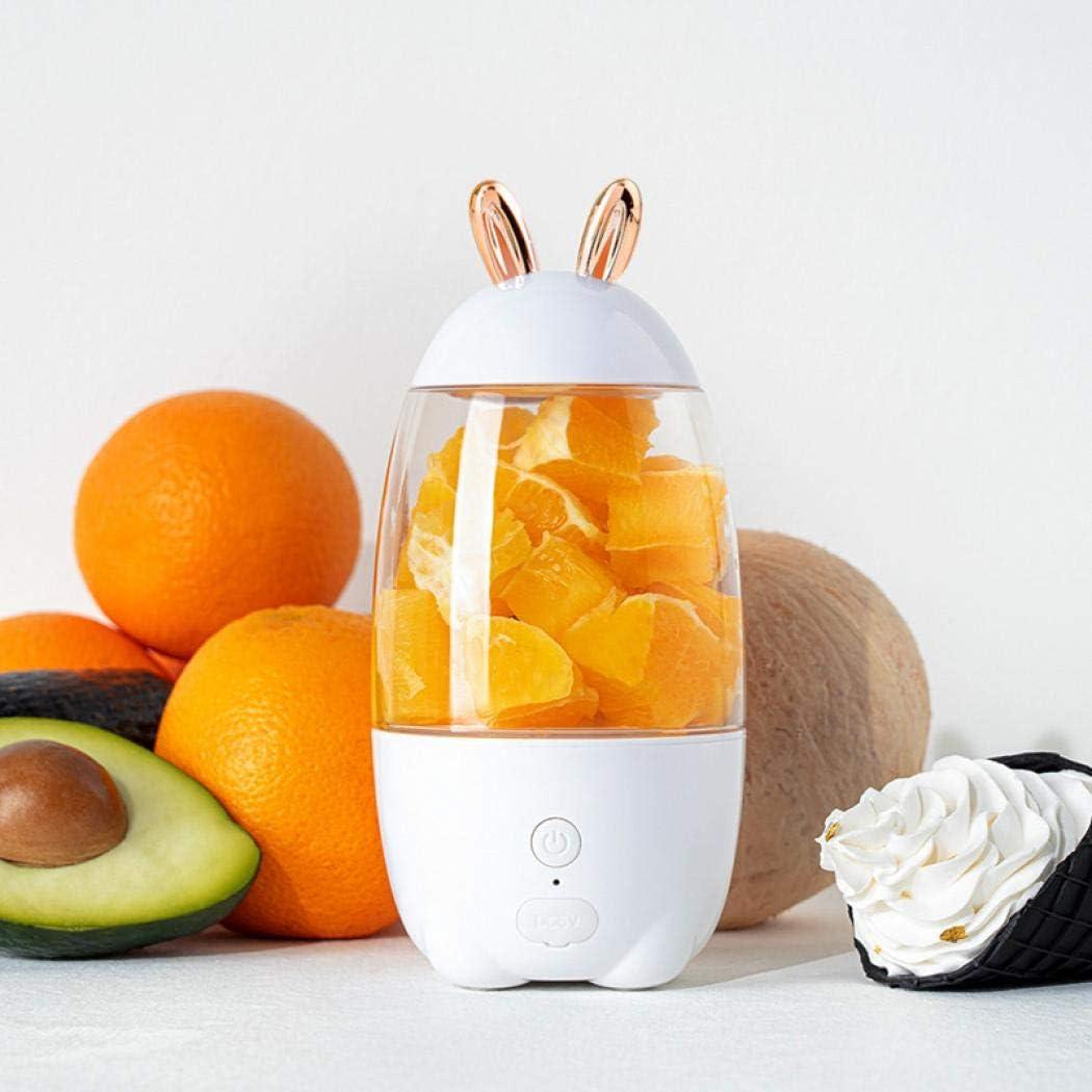 Linda licuadora portátil de 400 ml, mini licuadora de hielo, licuadora, licuadora, batidora de frutas, recargable por USB, para exteriores, hogar, oficina talla única blanco
