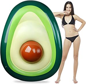 Aitey Pool Float, Giant Inflatable Avocado Pool Floatie with Ball Water Fun Summer Swimming Pool Raft Lounge Beach Floaty Party Toys for Kids