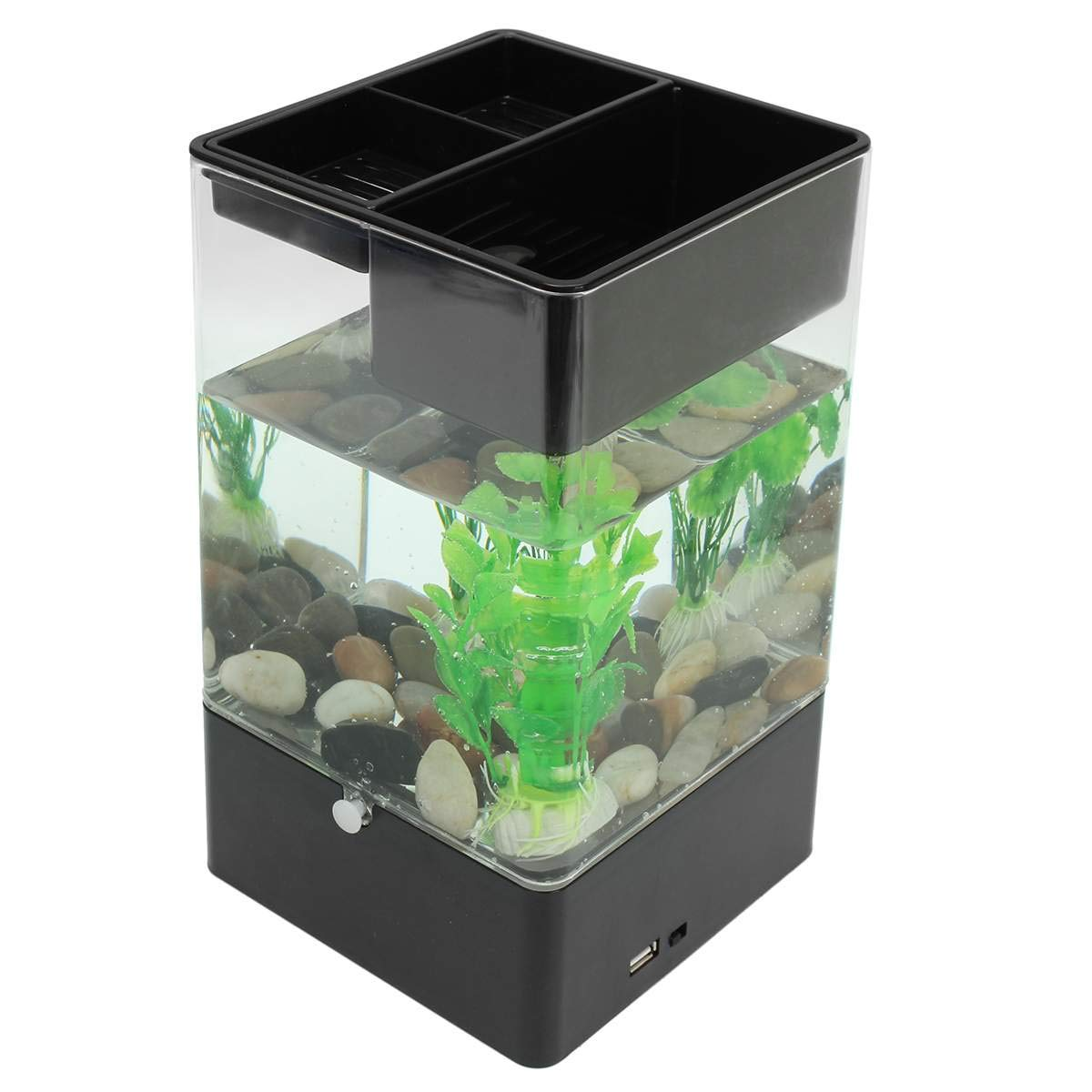 USB Desktop Mini Fish/Small Fry Tank USB, Hydroponic Fish Tank Acrylic Aquarium Fish Bowl for Indoor and Outdoor Use by M-TANK