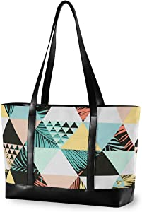 Large Woman Laptop Tote Bag - Exotic Beach Trendy Canvas Shoulder Tote Bag Fit 15.6 Inch Computer Ladies Briefcase for Work School Hiking