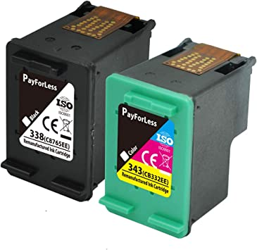 PayForLess 338XL 343XL Cartuchos de Tinta Compatible para HP Photosmart 8150 2575 C3180 HP PSC 1610 2350 2355 HP Deskjet 5740 HP Officejet H470 150 100(1 Negro, 1 Tricolor): Amazon.es: Electrónica