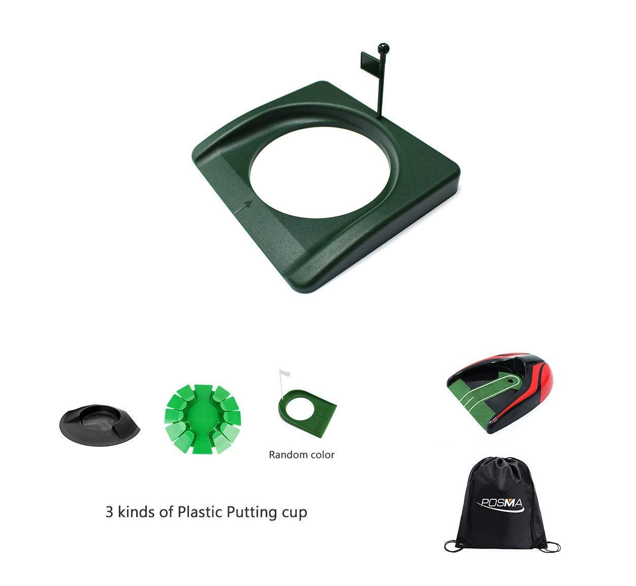 POSMA PHS015 Plastic Practice Putting Cup Golf Hole Training Aid Set, Putting Cup + Return Putting Cup + Carry Bag