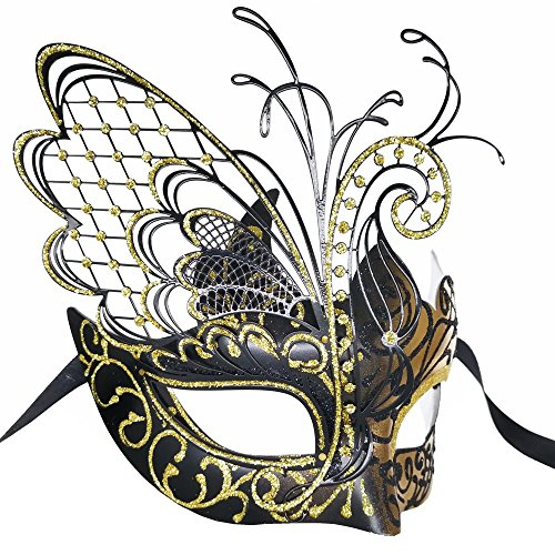 CCUFO [Flying Butterfly] Gold/Black Face with [Sparkling Wing] Laser Cut Metal Venetian Women Mask for Masquerade/Party / Ball Prom/Mardi Gras/Wedding / Wall Decoration by CCUFO (Image #2)