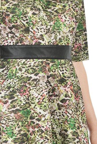 EShakti Women's Faux leather trim animal print scuba knit dress 6X-36W Tall Of-white/black multi