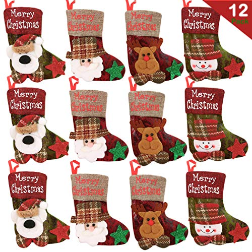 Mini Christmas Stockings 6-1/4inch Great Gift Xmas Party Favors Supplies 12 Pack Decorative Little Treats Santa 3D Rustic Stockings Goodies Bags Stuffer Fillers Silverware/Utensils Holders (Great Christmas Stocking)