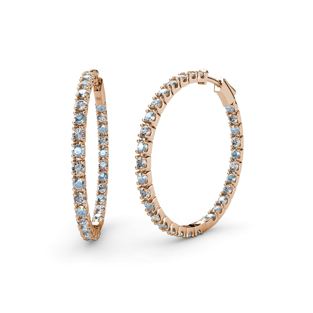Aquamarine and Diamond (SI2-I1, G-H) Inside-Out Hoop Earrings 2.09 ct tw in 14K Rose Gold