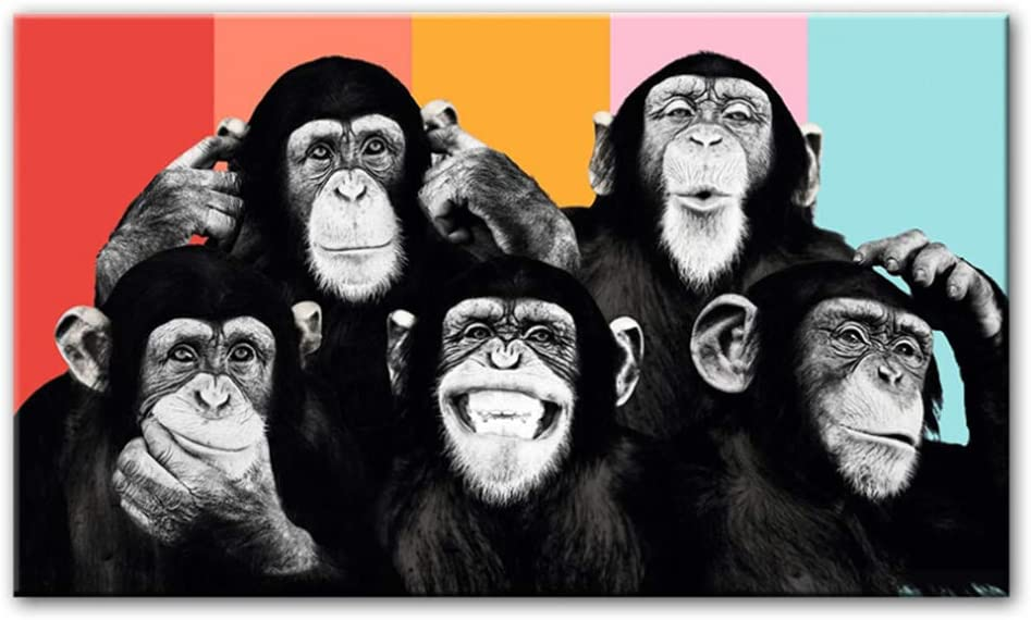 Cuadros de lienzo de arte de pared Monos divertidos Pinturas de lienzo en la pared Carteles e impresiones Animales modernos Decoración de la habitación de los niños 60x120cm (23.6