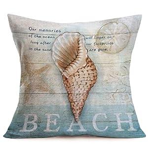 Smilyard Ocean Beach Style Pillow Covers Cotton Linen Vintage Wooden with Sea Snail Decorative PillowcaseMediterranean ThemeCushion Cover Home Decor Pillow Cover 18x18 Inch (Sea Snail 07)