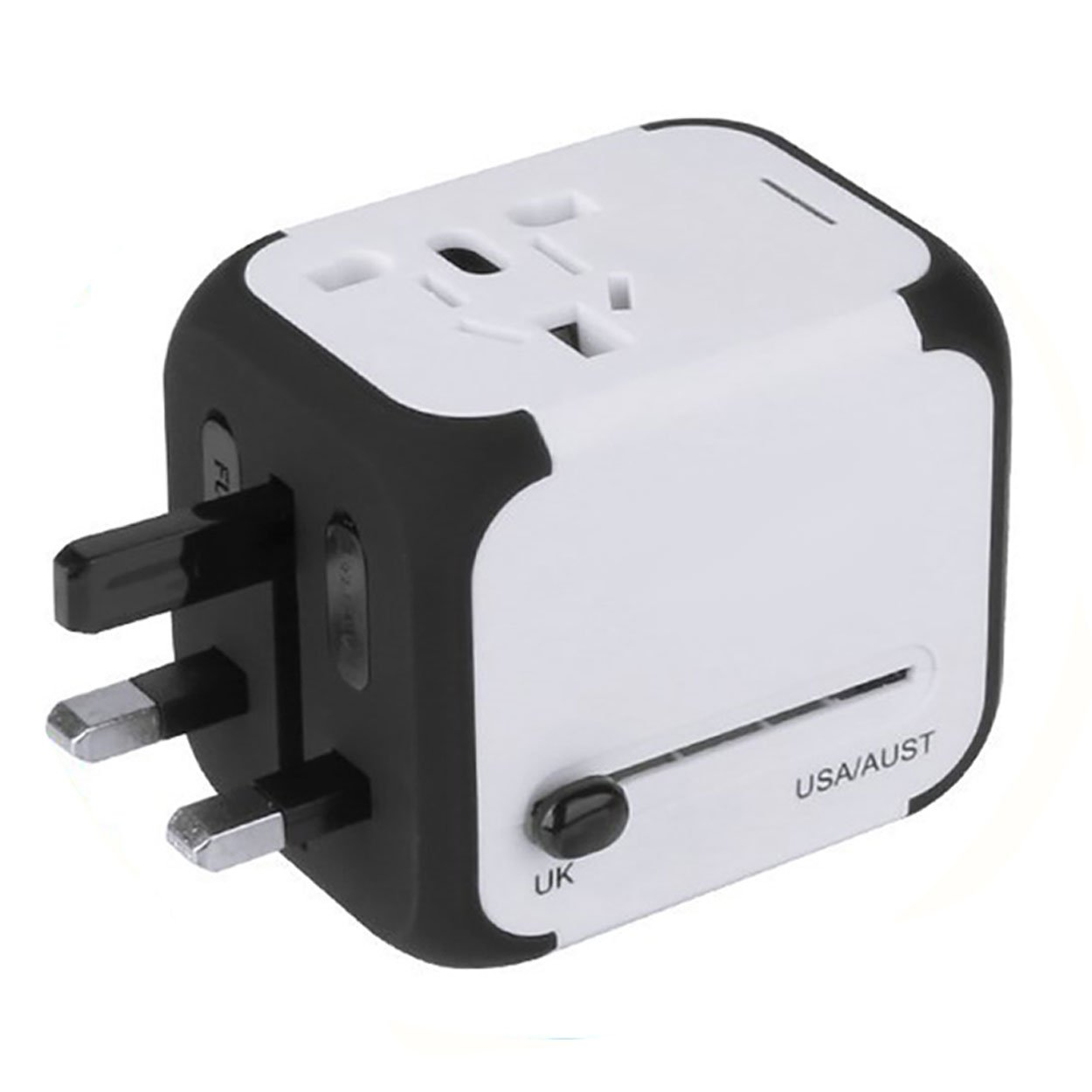 Yardsky Universal Travel Adapter Worldwide All in One Small Portable International Wall Charger with 2 USB Ports Outlet and Plug for USA EU UK AUS (White)