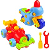 2 Set Take Apart Toy Cars, 50 Pieces Build a Car for Kids Kit, Cool Motorcycle and Formula 1 Racing Car for Toddlers Girls and Boys , Best for Children Age 3 Years Old +, Fun Game with Free Tools