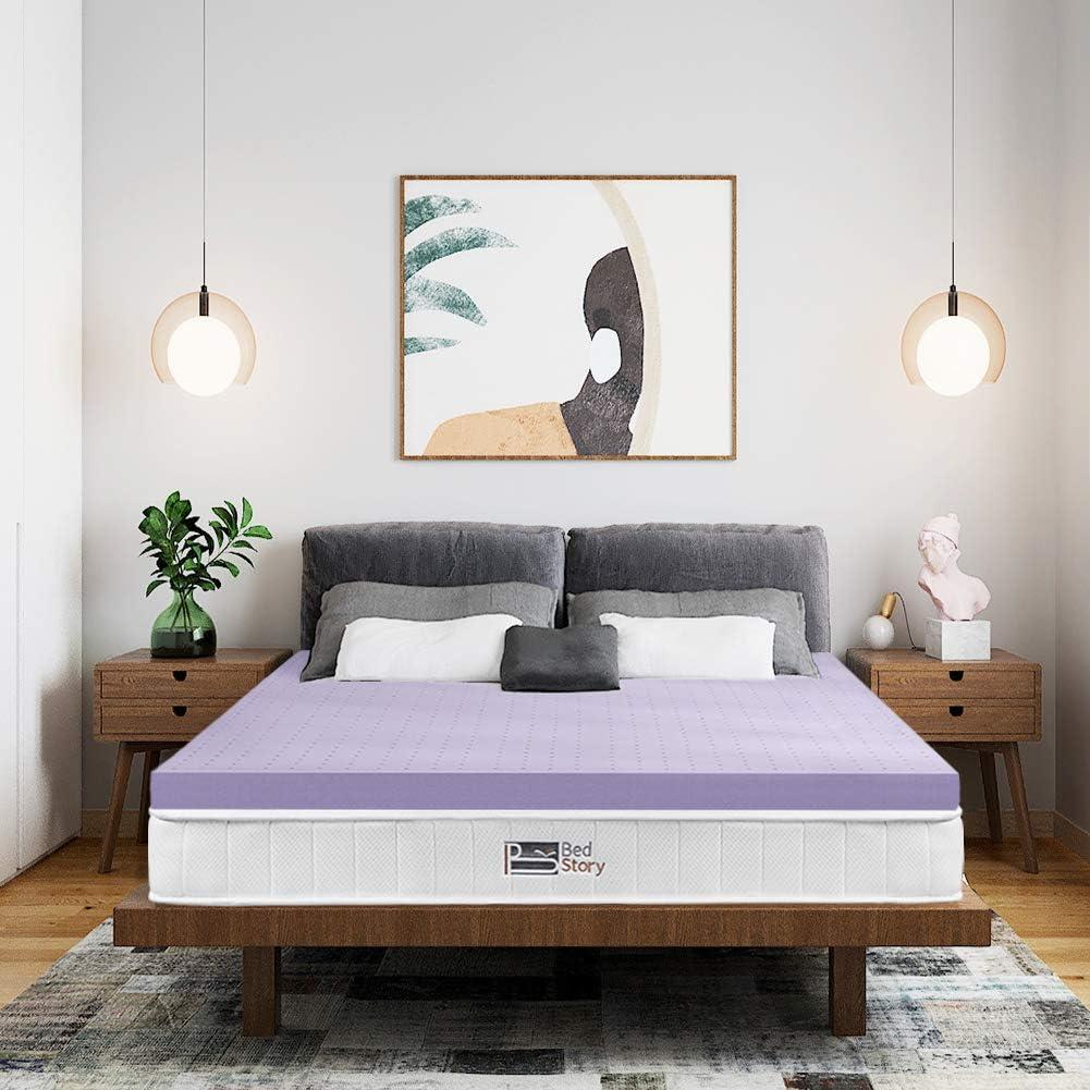 BedStory Colchón Topper de Espuma con Memoria, con Esencia de Lavanda, Cubierta de Microfibra, Topper viscoelástico para Cama, CertiPUR-US Certificado, Diseño ventilado - 180x200x5cm