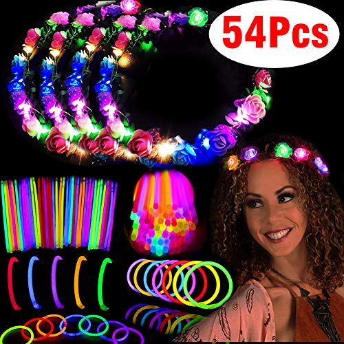 Glow Party Pack Favors Glow in The Dark Party Supplies-50 Glow Sticks Bulk with Connector for Glow Necklaces and Bracelets, 4 Light up Flower Crowns Headpiece for Kids Women Girls Adult(54p) -