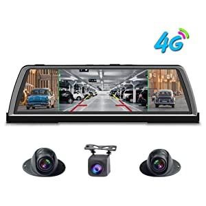 """Shihen 360 Degree Panoramic Dashboard 4G car dvr Dash cam 4CH Cameras Recorder 10"""" Touch Android Rear View Mirror with GPS Navi ADAS WiFi Bluetooth Remote Monitoring"""