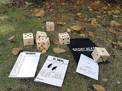 SPORT BEATS Giant Wooden Yard Dice Set 6 in Carry Bag for Lawn Outdoor Games 2 Dry Erase Yardkle Yardzee and 2 Marker Pens Free