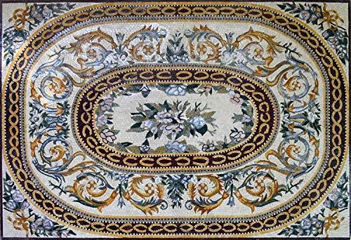 Flowers Marble Mosaic Rug Floor Tiles   Mosaic Designs   Mosaic Artwork   Mosaic Wall Art by Mozaico   Handmade Mosaics   63